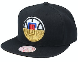 Los Angeles Clippers Gold Dip Down Black Snapback - Mitchell & Ness