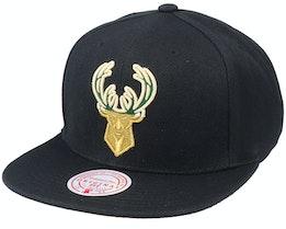 Milwaukee Bucks Gold Dip Down Black Snapback - Mitchell & Ness