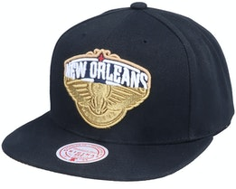 New Orleans Pelicans Gold Dip Down Black Snapback - Mitchell & Ness