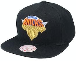 New York Knicks Gold Dip Down Black Snapback - Mitchell & Ness