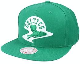 Boston Celtics Warp Down Kelly Green Snapback - Mitchell & Ness