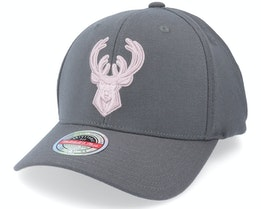 Milwaukee Bucks Pink Cast Charcoal Grey Adjustable - Mitchell & Ness