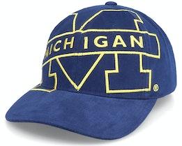 Michigan Wolverines U. Of Michigan Ncaa Big Logo Deadstock Navy Adjustable - Mitchell & Ness