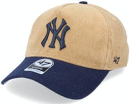 New York Yankees Corduroy Mvp DT Khaki/Navy Adjustable - 47 Brand