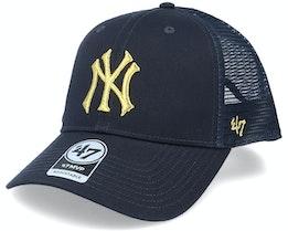 New York Yankees Branson Metallic Mvp Navy/Gold Trucker - 47 Brand