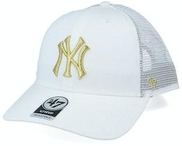 New York Yankees Branson Metallic Mvp White/Gold Trucker - 47 Brand