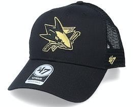 San Jose Sharks Branson Metallic Mvp Black/Gold Trucker - 47 Brand