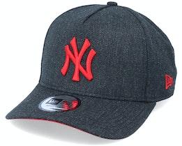 New York Yankees Heather Pop A-frame Trucker Ne Black/Red Adjustable - New Era