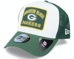 Green Bay Packers Graphic Patch A-Frame White/Green Trucker - New Era