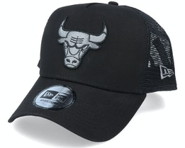 Chicago Bulls Bob Team Logo 9Forty A-Frame Black Trucker - New Era