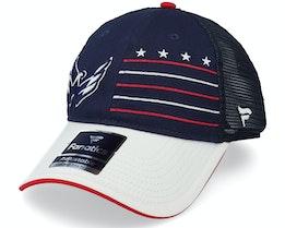 Washington Capitals Waving Flag Trucker Athl Navy/Grey Trucker - Fanatics
