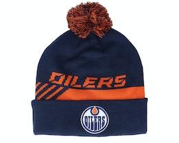 Edmonton Oilers Locker Room Pom Athl Navy Pom - Fanatics