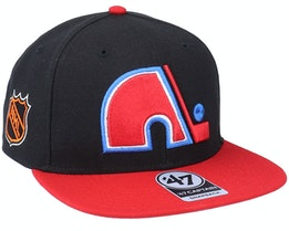 Hatstore Exclusive x Quebec Nordiques Sure Shot Two Tone Captain Black/Red Snapback - 47 Brand