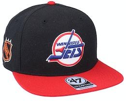 Hatstore Exclusive x Winnipeg Jets Sure Shot Two Tone Captain Black/Red Snapback - 47 Brand
