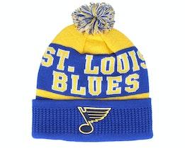 Kids St. Louis Blues Puck Pattern Cuffed Blue/Yellow Pom - Outerstuff