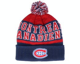 Kids Montreal Canadiens Puck Pattern Cuffed Navy/Red Pom - Outerstuff
