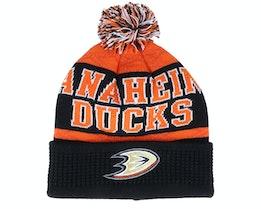 Kids Anaheim Ducks Puck Pattern Cuffed Black/Orange Pom - Outerstuff