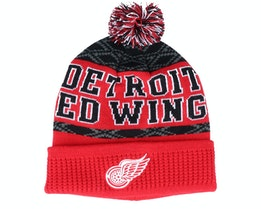 Kids Detroit Red Wings Puck Pattern Cuffed Red/Black Pom - Outerstuff