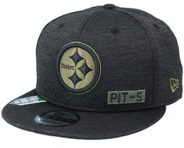 Pittsburgh Steelers Salute To Service NFL 20 Heather Black Snapback - New Era