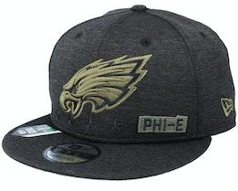 Philadelphia Eagles Salute To Service NFL 20 Heather Black Snapback - New Era