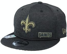 New Orleans Saints Salute To Service NFL 20 Heather Black Snapback - New Era