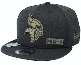 Minnesota Vikings Salute To Service NFL 20 Heather Black Snapback - New Era