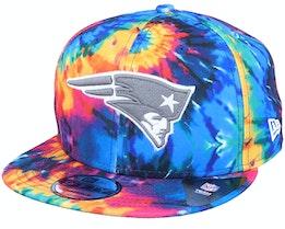 New England Patriots Crucial Catch 9Fifty Tie-Dye Multicolor Snapback - New Era