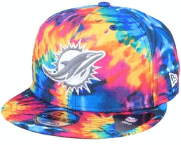 Miami Dolphins Crucial Catch 9Fifty Tie-Dye Multicolor Snapback - New Era