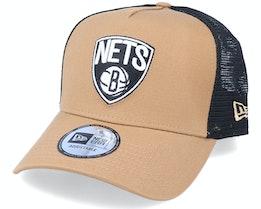 Hatstore Exclusive x Brooklyn Nets Caramel A-Frame Trucker - New Era