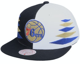 Philadelphia 76ers Diamond Cut Black/White Snapback - Mitchell & Ness