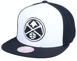 Denver Nuggets Front Post White/Black Snapback - Mitchell & Ness