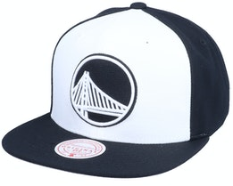 Golden State Warriors Front Post White/Black Snapback - Mitchell & Ness
