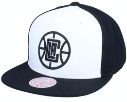 Los Angeles Clippers Front Post White/Black Snapback - Mitchell & Ness