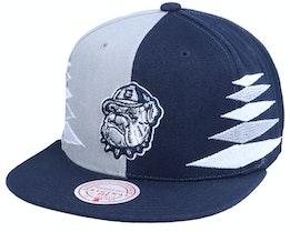 Georgetown Hoyas University Diamond Cut Navy/Grey Snapback - Mitchell & Ness