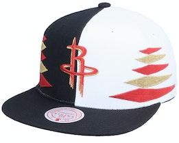 Houston Rockets Diamond Cut Black/White Snapback - Mitchell & Ness
