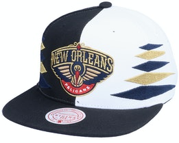 New Orleans Pelicans Diamond Cut Black/White Snapback - Mitchell & Ness