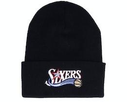 Philadelphia 76ers Hwc Team Logo Knit Black Cuff - Mitchell & Ness
