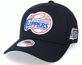Los Angeles Clippers 50th Anniversary Patch Black Adjustable - Mitchell & Ness