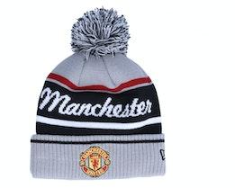 Manchester United Wordmark Bobble Cuff Knit Man Gray/Black Pom - New Era