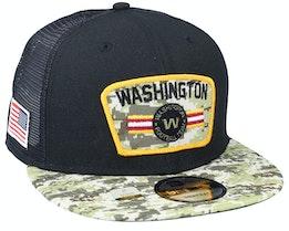 Washington Football Team NFL21 Salute To Service 9FIFTY Black/Camo Trucker - New Era