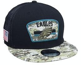 Philadelphia Eagles NFL21 Salute To Service 9FIFTY Black/Camo Trucker - New Era