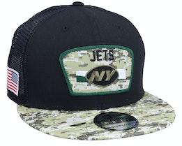 New York Jets NFL21 Salute To Service 9FIFTY Black/Camo Trucker - New Era