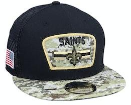 New Orleans Saints NFL21 Salute To Service 9FIFTY Black/Camo Trucker - New Era