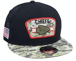 Kansas City Chiefs NFL21 Salute To Service 9FIFTY Black/Camo Trucker - New Era