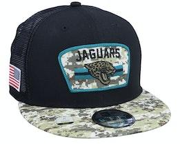 Jacksonville Jaguars NFL21 Salute To Service 9FIFTY Black/Camo Trucker - New Era