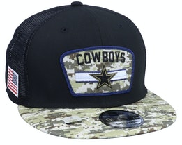 Dallas Cowboys NFL21 Salute To Service 9FIFTY Black/Camo Trucker - New Era