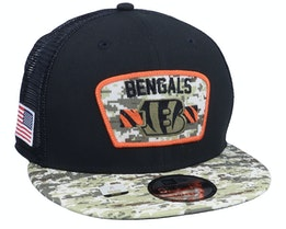 Cincinnati Bengals NFL21 Salute To Service 9FIFTY Black/Camo Trucker - New Era