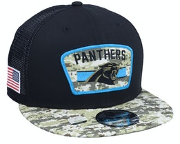 Carolina Panthers NFL21 Salute To Service 9FIFTY Black/Camo Trucker - New Era
