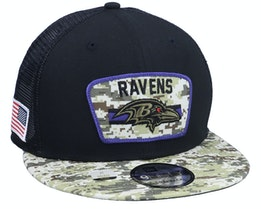 Baltimore Ravens NFL21 Salute To Service 9FIFTY Black/Camo Trucker - New Era