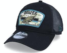 Philadelphia Eagles NFL21 Salute To Service 9TWENTY Black/Camo Trucker - New Era